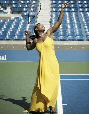 Williams wears yellow tennis gown