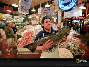 Fishmonger in a market