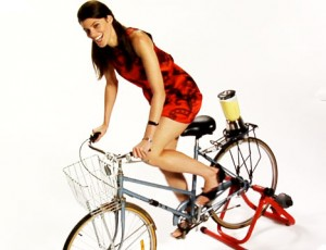 woman on a bike that blends smoothies on earth day