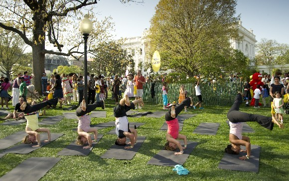 yoga on the white house lawn