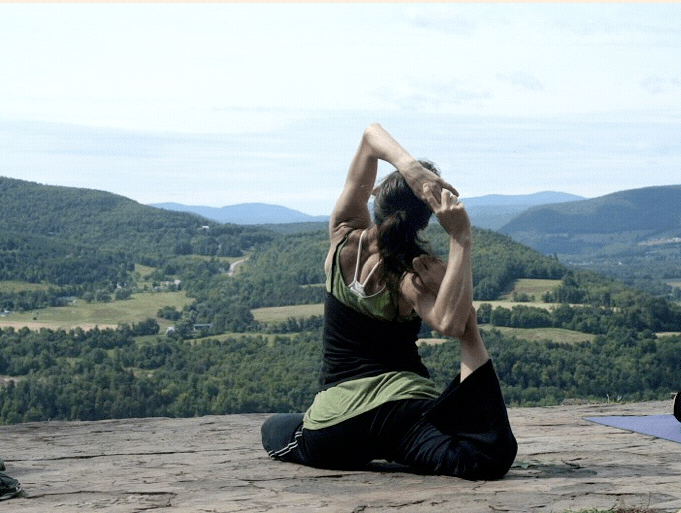 Pigeon pose, Waterfall House Yoga Retreat in the Catskills