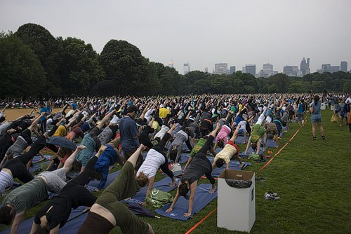 Yogis pack Central Park; Yoga at the Great Lawn