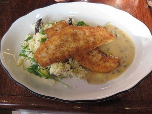 Fish Special at Vesta, Astoria: Breadcrumb encrusted Fluke with Cous Cous