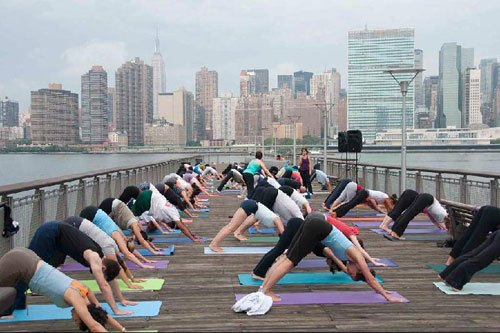 The Yoga Room's free yoga classes at LIC's Gantry Plaza State Park