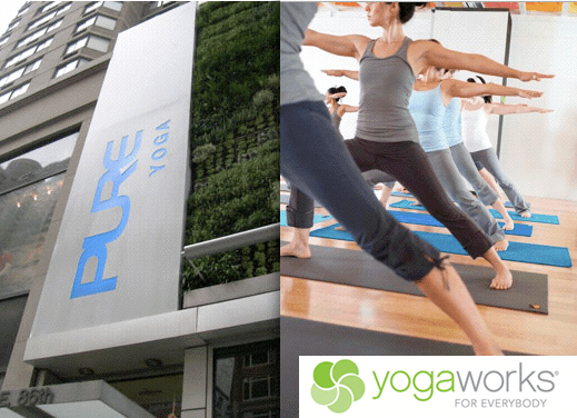 Pure Yoga Upper East Side, and a YogaWorks teacher training class (right)