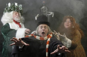 Scrooge and ghosts