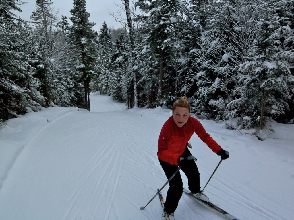 woman skate skiing