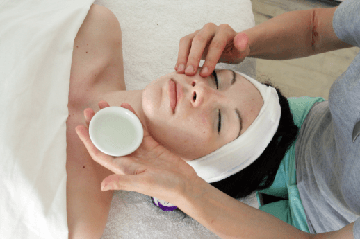 woman getting an organic facial treatment in New York City