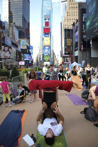 Times Square solstice acroyoga