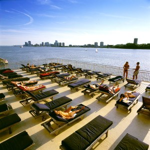 The Chelsea Piers sundeck overlooks the Hudson