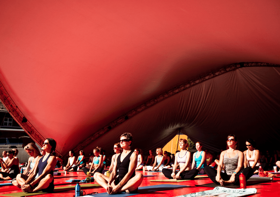 Wanderlust red tent for yoga