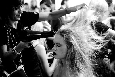 blow dryer and sexy hair model fashion week