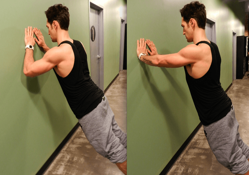 Forearm wall push-up