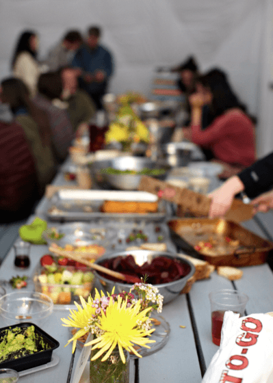The spread at a potluck dinner hosted by Shore Soup recently. (Photo Credit: Jessie Adler)