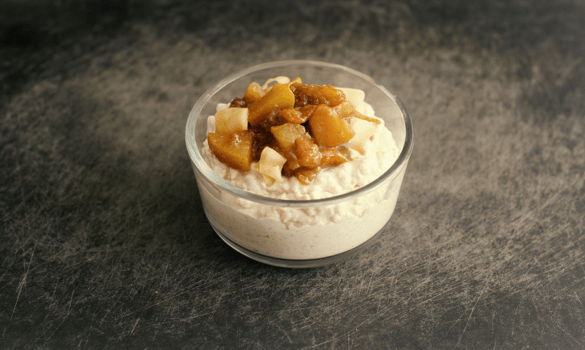 Coconut Cashew Millet Pudding with Chai Pear + Apricot Compote