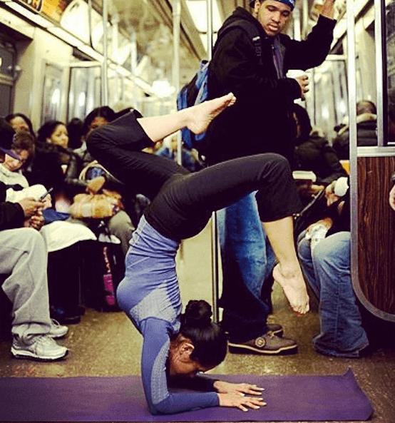 Yoga on the subway