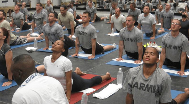 vets doing yoga