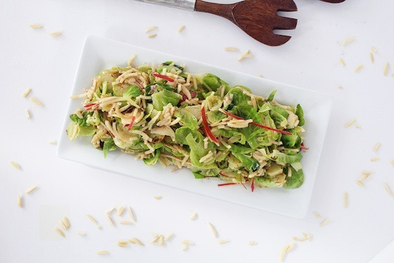 Sweet Hot Mustard Brussels Sprout And Apple-Almond Salad-Inspiralized