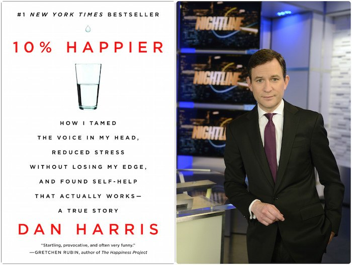 Harris' book and Harris in the newsroom. (Photos: Dan Harris)
