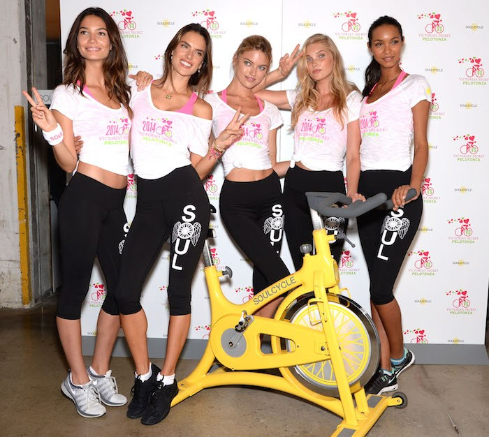A SoulCycle ride hosted by Victoria's Secret models that donated money for Pelotonia, an organization that works to end cancer. (Photo: SoulCycle)