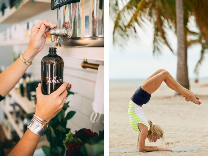 Receive a complimentary bottle of organic olive oil soap from Follain when you spend $150 or more at the Athleta Newbury store in Boston. (Photos: Follain, Athleta)