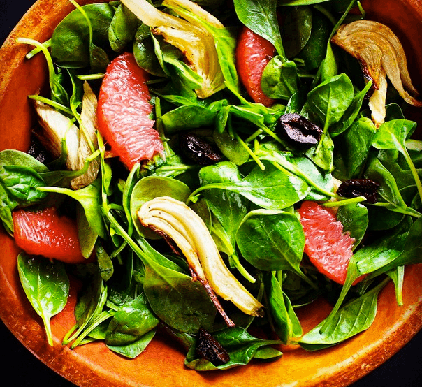 spinach Salad with Roasted Fennel and Grapefruit
