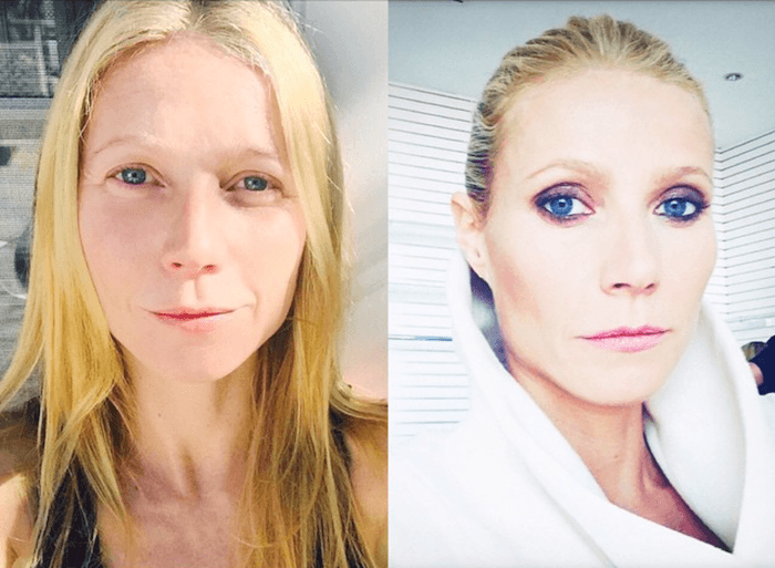 Gwyneth Paltrow posted these selfies on Instagram—one makeup-free and one makeup-full.