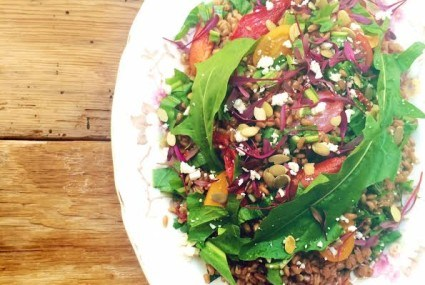 Recipe: Farro Tomato and Dandelion Greens Salad with Sweet Lemon Balsamic Vinaigrette