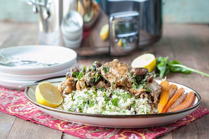 Danielle Walker's Slow Cooker Moroccan Chicken with Chopped Almonds, Apricots and Cauliflower Couscous