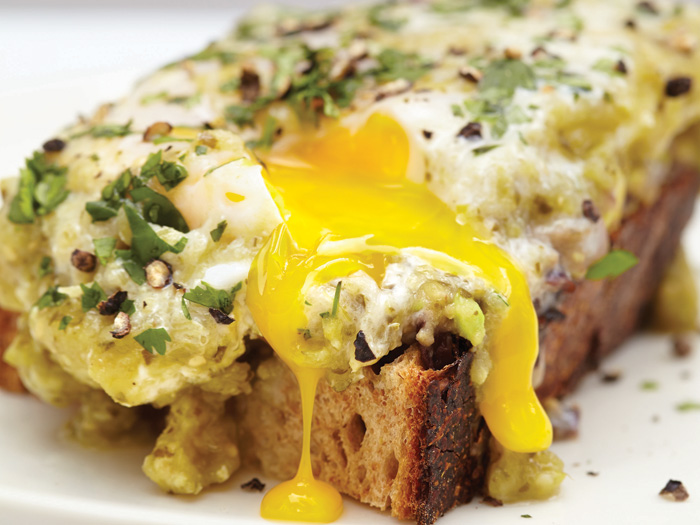 tomatillo egg toast