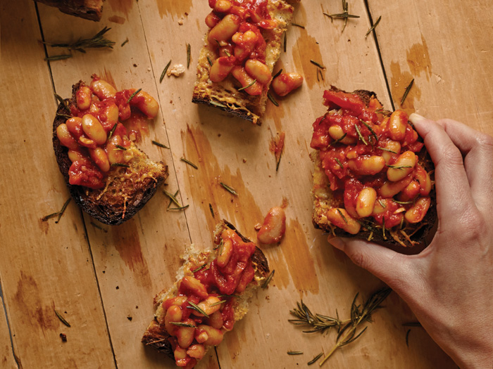 Zingy White Beans and Tomatoes toast