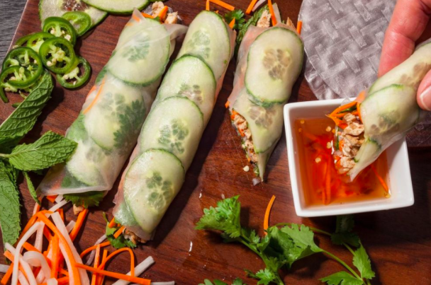 rice paper banh mi with chicken