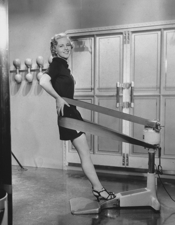 Weight reducing machine w. belts that encircle hips & buttocks. (Photo by Time Life Pictures/Mansell/The LIFE Picture Collection/Getty Images)