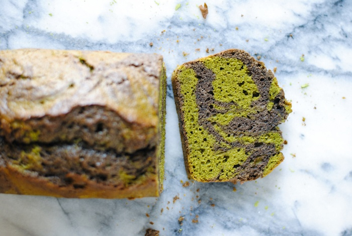Matcha and Black Sesame Marble Cake