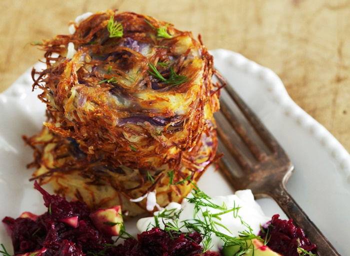 Baked Latkes with Beet
