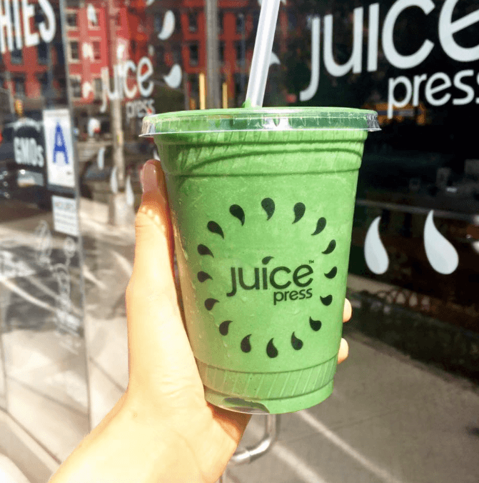 Juice Press storefront and smoothie