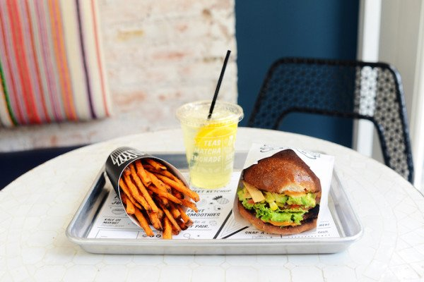 By Chloe_Guac Burger_Air Baked Sweet Potato Fries_Seasonal Lemonade
