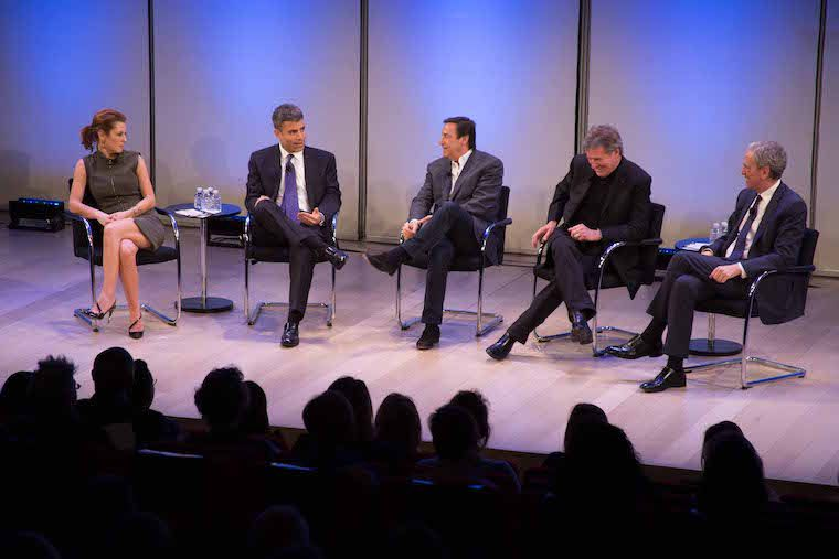 At the Town Hall on Meditation, left to right: Bloomberg TV's Stephanie Ruhle; Barry Sommers, CEO of the Consumer Bank for JPMorgan Chase; Horizon Media CEO Bill Koenigsberg; Tupperware Brands CEO Rick Goings; and David Lynch Foundation Executive Director Bob Roth. Photo: Austin Ayers/The David Lynch Foundation