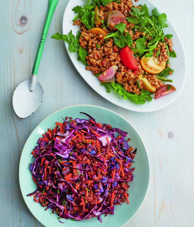Rye Berry Salad & Farro Salad with Arugula (c) Lauren Volo