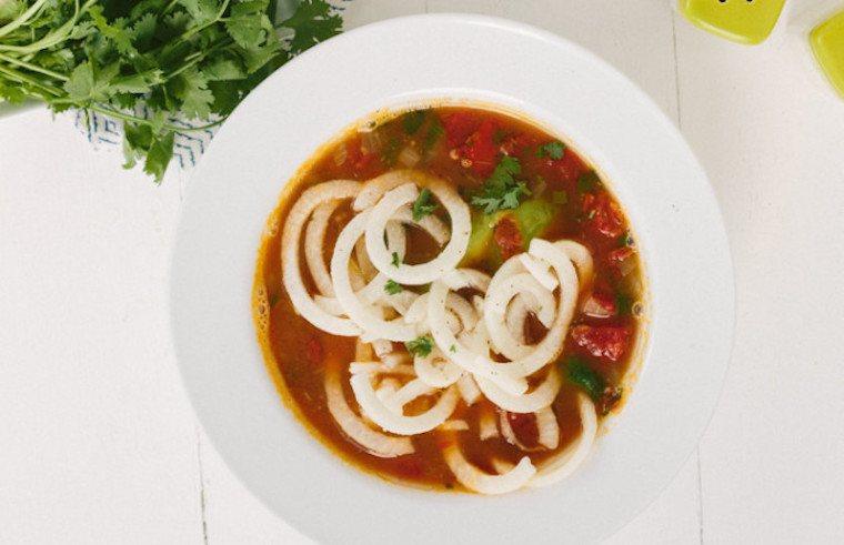 soup, jicama noodle, fiber, lunch
