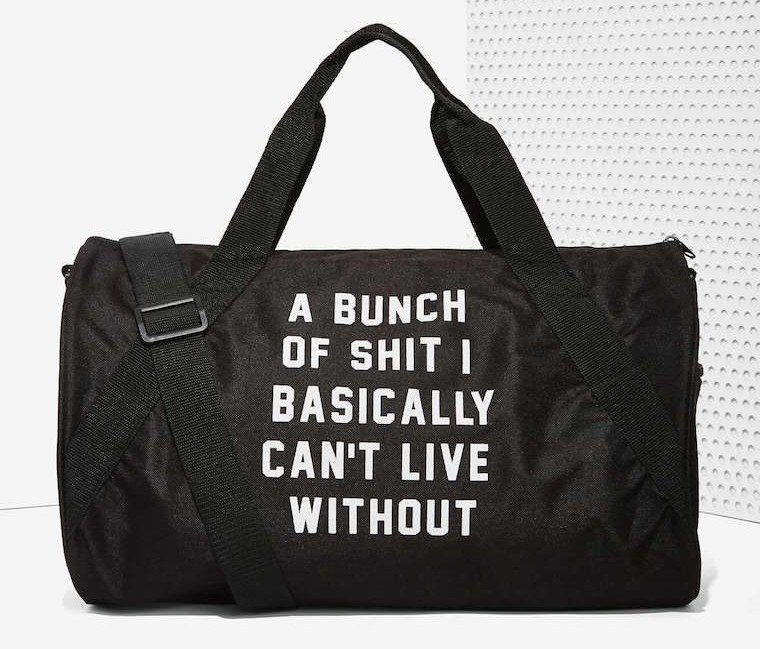 a-bunch-of-shit-i-can't-live-without-nasty-gal-gym-bag