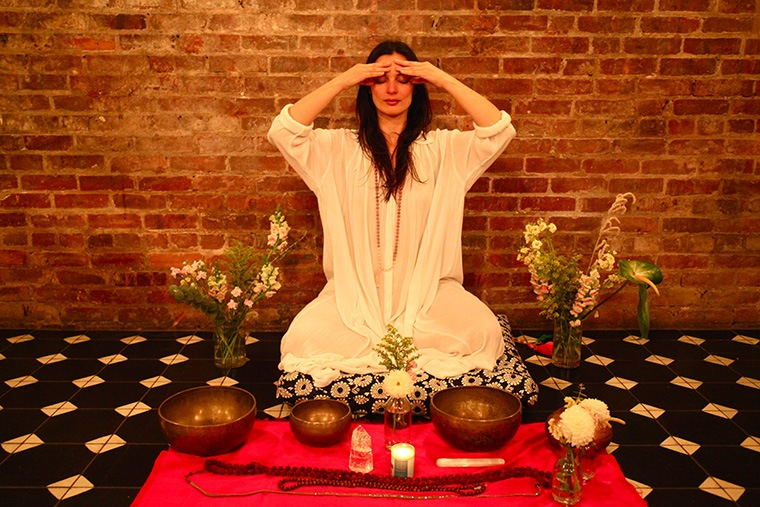 Aya (of the meditative music duo Aya and Tyler) at a recent Aerie Collective event at the Wythe Hotel.