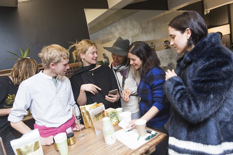 Attendees mingle at SereneHouse, Serene's New York Fashion Week pop-up event at Bandier. Photo by Benjamin Lozovsky/BFA.com.