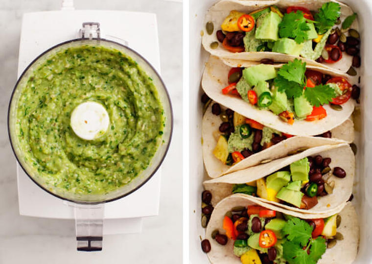 vegetable-tacos-tomatillo-salsa