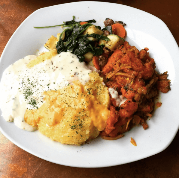 "Burdock root ""shrimp"" and grits at Seasoned Vegan. Photo: Instagram/@maskedfantom"