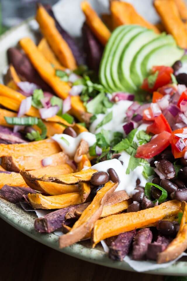Lauren Caris Cooks Mexican Style Loaded Baked Sweet Potato Fries