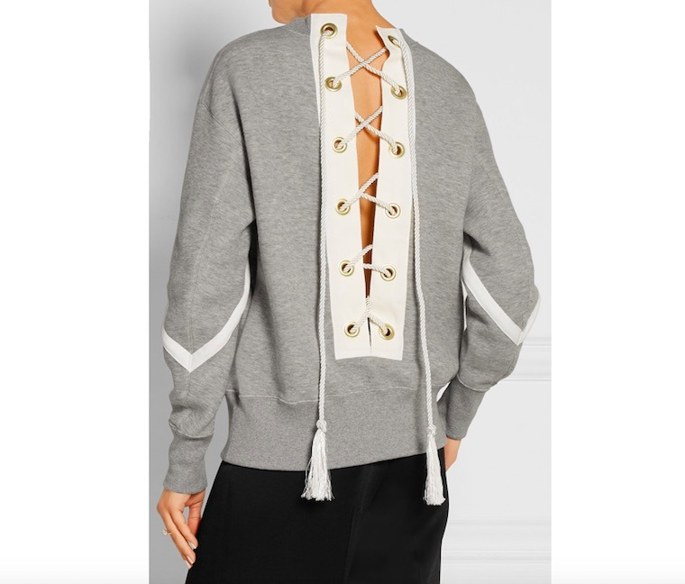 sacai lace up cotton blend sweatshirt
