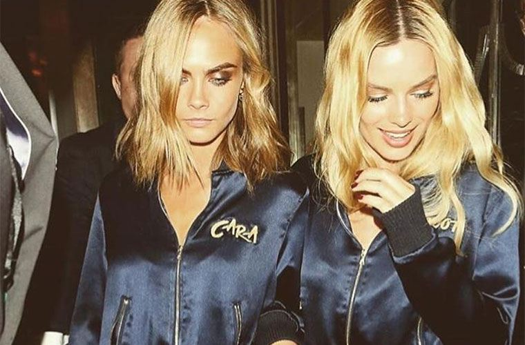 Trendy hair: cara delevingne and margot robbie have center-part hairstyles