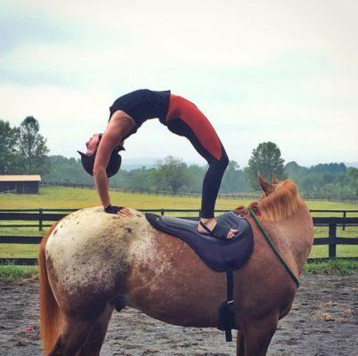 Thumbnail for Move over, yoga mats—people are now practicing on horseback