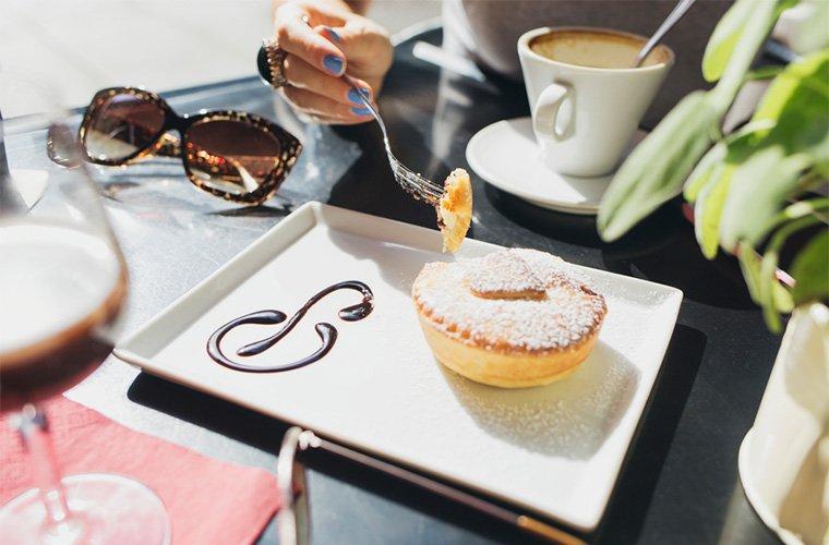 eating at a bakery